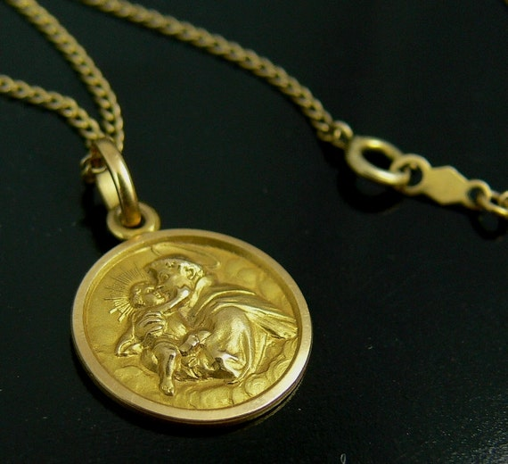 vintage 18k gold st anthony pendant necklace religious medal