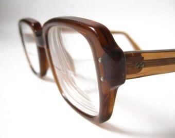 Vintage 50s 60s Brown Geeky  Hipster Professor Frames.