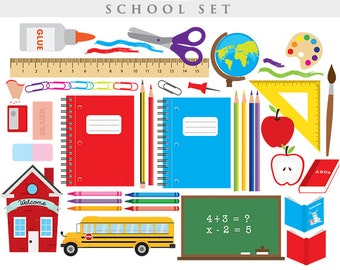 School clipart - classroom clip art back to school learning teacher clipart school bus pencils scissors ruler globe apple clipart blackboard