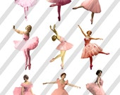 Pink Ballet Dancers Digital Collage Sheets 3 Sheets (D16A, B and C)-  Instant Download