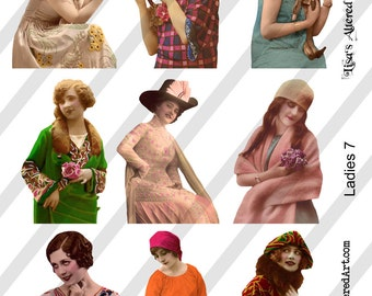 PNG Ladies Digital Collage Sheet Ladies No. 7 (Sheet no. L7) Instant Download