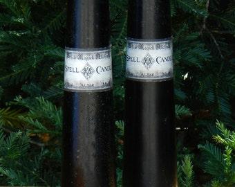 """Black Altar Tapered Pillar Spell Candles 9"""""""