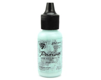 MARINE Vintaj Patina Paint - Light Turquoise Blue Light Blue Patina For All Metals - by Vintaj and Ranger Ink - Metal Paint