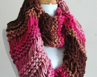 Pink Brown Chunky Knit Infinity Scarf, Circle Scarf, Chunky Scarf, Hand Knit Infinity Scarf, Womens Scarves, Knitted Scarf, Winter Scarf