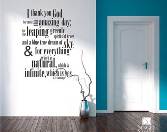 ee cummings Thank You God Wall Decals Quote - Vinyl Text Wall Words Stickers Art