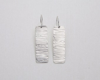 Hammered and Textured Rectangle Earrings