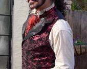 Red and Black Aster Pattern Silk Brocade Cravat/ Ascot