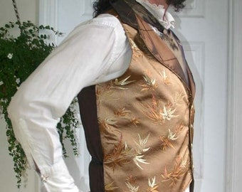 Gold and Copper Bamboo Silk Steampunk Victorian Lapeled Gentlemen's Vest