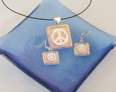 Peace sign - Silver PEACE sign Earrings or Pendant - dichroic glass jewelry - Peace and Love  (2978-9)