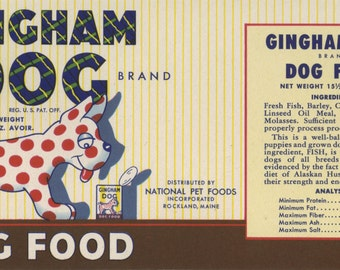 Four Different Vintage Cat and Dog Food Labels