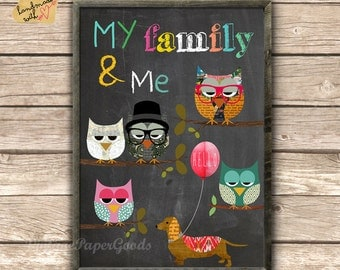 Me and my family  collage poster print - typography on chalkboard background