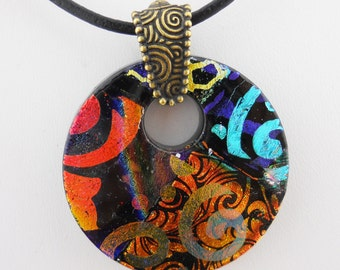 Double Etched Dichroic Fused Glass Pendant