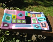 Sexy Retro Lavender Pink Turquoise Mint Colorful Fused Glass Tray