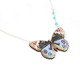 Blue Butterfly Necklace, Wooden Butterfly, Illustration Pendant, Asymmetrical Necklace, Animal Necklace, Wood Jewelry