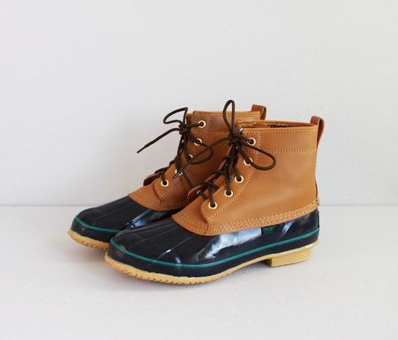 vintage brown dark blue lace up rain boots    men u0026 39 s 8