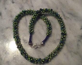 Kumihimo Braided Necklace, greens