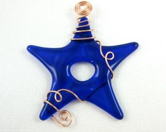 Glass Star Suncatcher Cobalt Blue Fused Glass