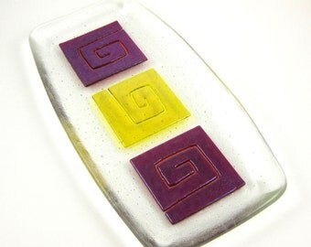 Red and Yellow Glass Serving Dish - Geometric Fused Glass Serving Plate