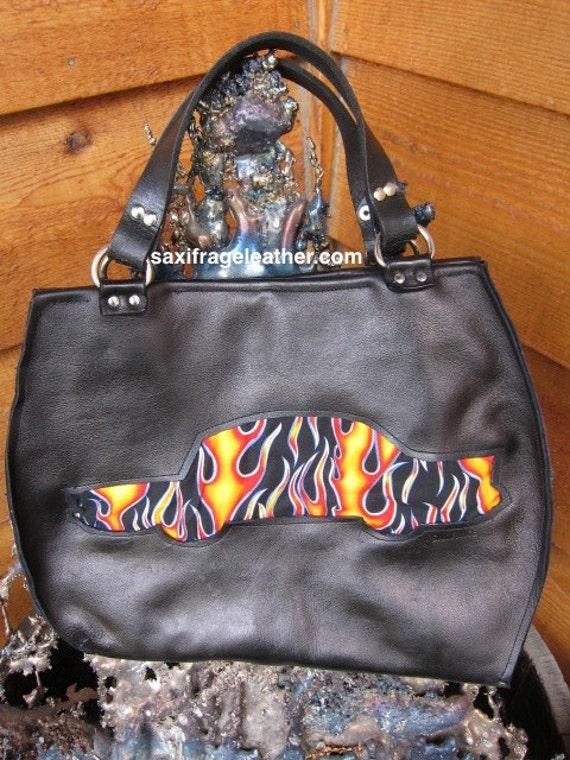Classic Car Cutout Flames Leather Bag