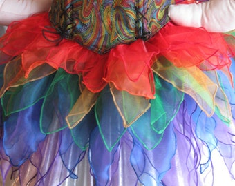 DDNJ Rainbow Fairy Pixie Sprite 4pc Cosplay Larp Anime Plus Custom Made ANY Size Renaissance Lolita Medieval Con Medieval Pirate Costume