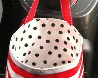 Beth's Stripes Oilcloth Car Trash Bag with Ribbon Tie