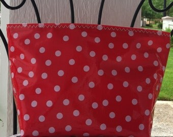 Beth's medium white dot on red oilcloth cosmetic bag