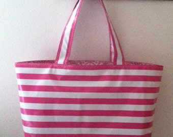 Beth's Big Very Pink Stripes Oilcloth Market Tote Bag