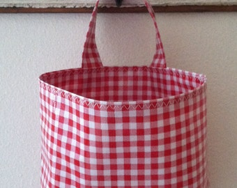 Beth's Gingham Oilcloth Car Trash Bag Hanging Receptacle Basket Container