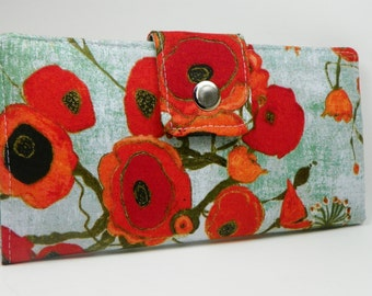 Poppy Handmade vegan Long Wallet  BiFold Clutch - Vegan Wallet - Orange Poppies or half size unisex wallet