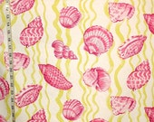 Violet seashell pink seashell fabric green stripe ocean fabric pink shell beach cottage home decorating fabric  FREE SHIPPING 1 yard
