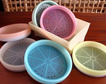 Tupperware Coasters with Holder Caddy . Pastel Colors . Plastic Coasters . Vintage 1960s . Retro Kitchen . Retro Revival