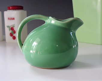 Mini Ball Pitcher, Ball Creamer, Green Pottery Pitcher, USA #1, Kitchenware Collectible, Vintage 1940s