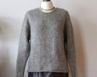 Gray hand knitted tunic sweater, chunky classic sweater, wool tunic with taffeta border, warm cozy winter sweater, READY TO SHIP