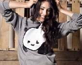 Baby Panda Hoodie Sweater - Zinc Heather Grey - Unisex Sizes S, M, L