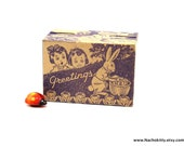 1930s Candy Box Purple Easter Rabbit Graphics on All Sides