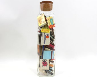 1960s Tall Clear Glass Canister with Cork | Collection Storage