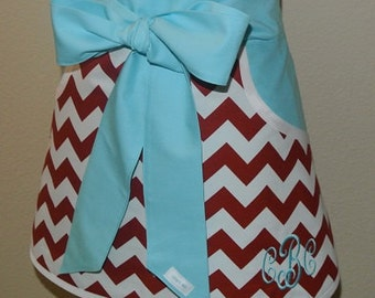 Personalized Red Chevron with Teal Pockets and Ties Adult Half Apron