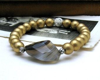 Banded Agate Boho Beaded Bracelet, Gold Pearl Agate Stretch Bracelet, for Her Under 80