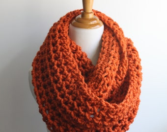 Chunky Scarf, Pumpkin Scarf, Snood, Chunky Knit Scarf, Orange Infinity Scarf