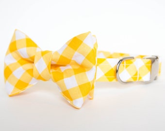 Dog Bow Tie Collar - Yellow Gingham