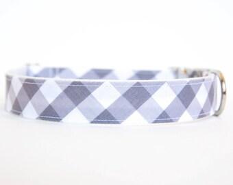 Gingham Dog Collar in Grey