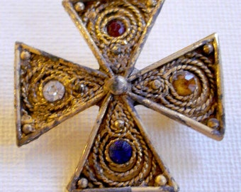 antiqued jeweled gold cross brooch