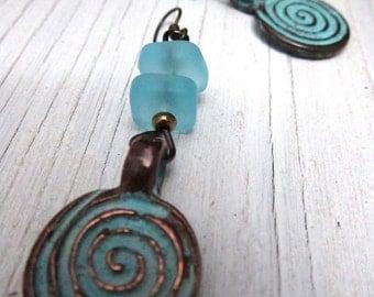 Swirl Earrings, Patina Swirling Metal, Turquoise Sea Glass, Beach Glass