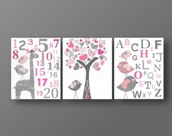 Nursery wall art baby nursery kids art alphabet numbers giraffe elephant Birds tree pink gray Set of three prints