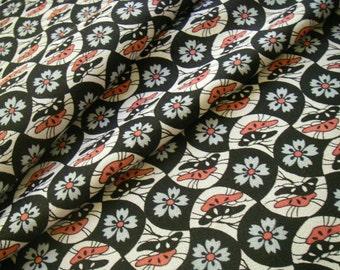 Vintage Japanese kimono fabric (black,pink)very good condition