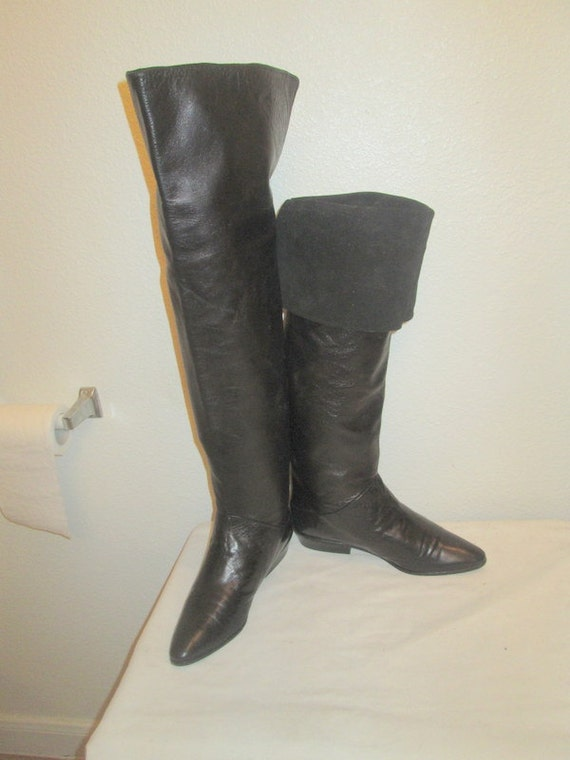 sz 7 b vintage black italian leather and suede by