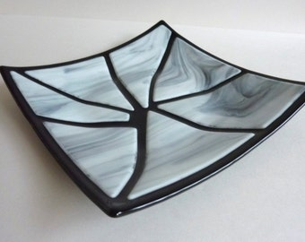 Fused Glass Art Plate in Black and White