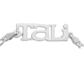 Sterling SIlver Name Bracelet or Name Anklet - choose from 5 styles