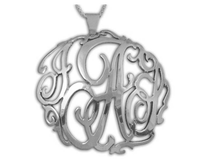 3D Concave lace Monogram Necklace - sterling silver