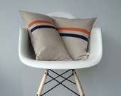 Orange and Navy Striped Pillow Set | (12x20) and (16x16) by JillianReneDecor | Modern Home Decor | Navy Stripes | Pumpkin | Koi - JillianReneDecor